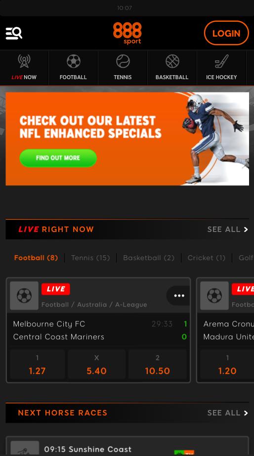 Screenshot website 888 Casino