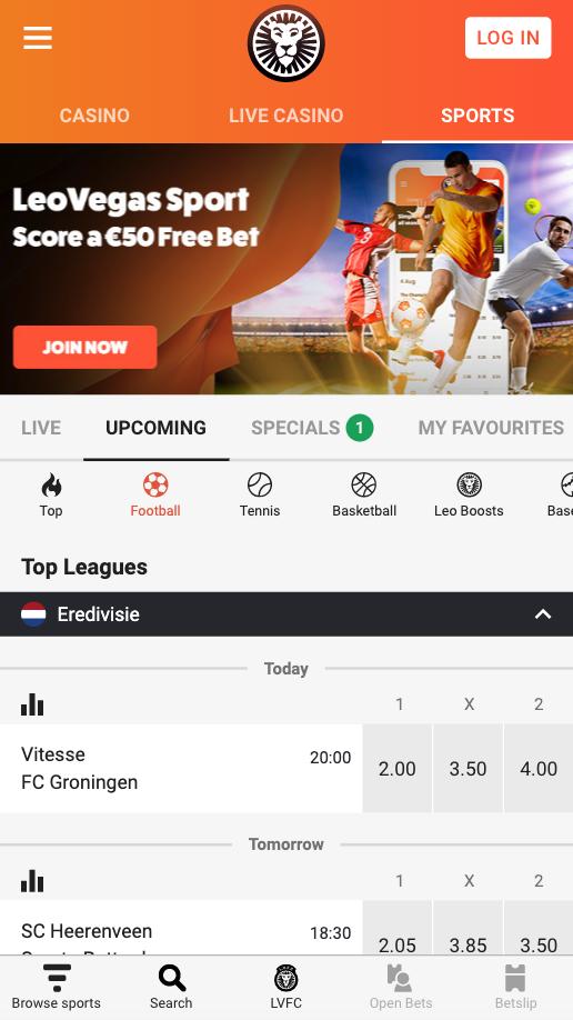 Screenshot website LeoVegas