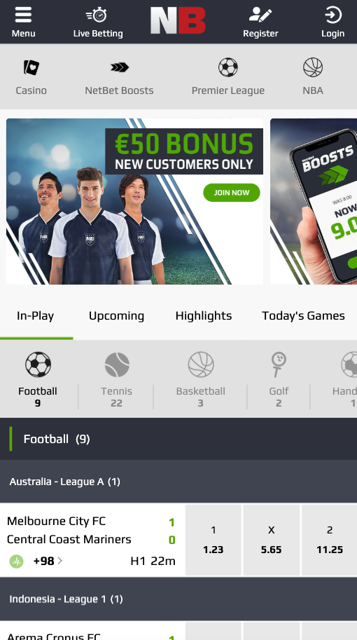Screenshot website NetBet