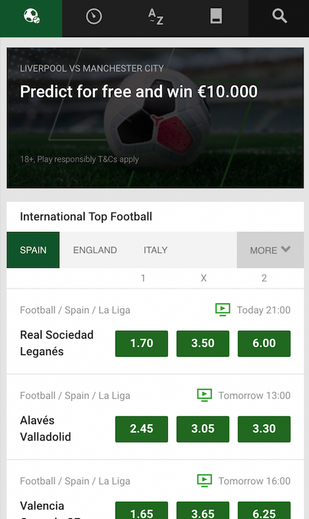 Screenshot website Unibet