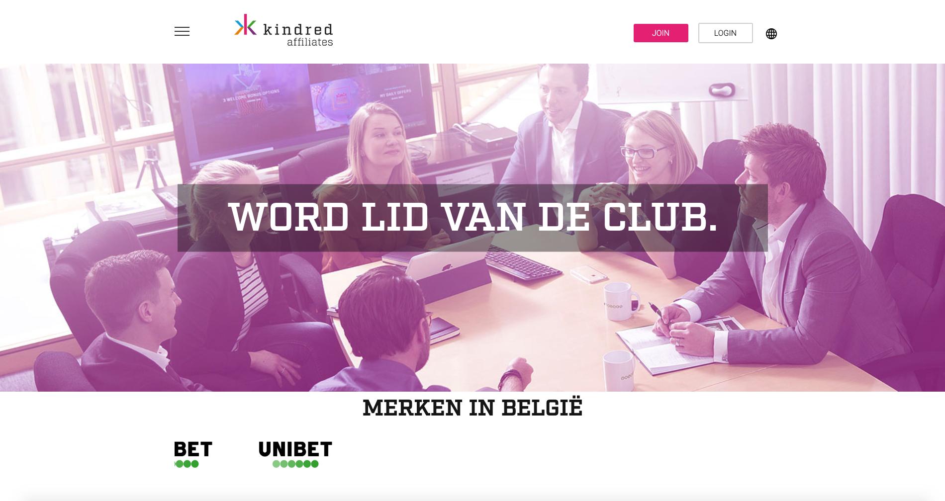 Screenshot website Kindred Affiliates