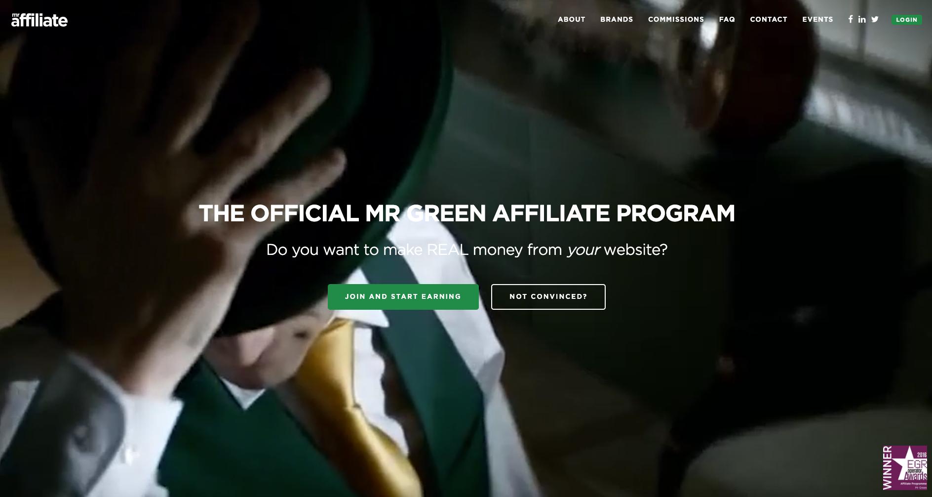 Screenshot website Mr Affiliate